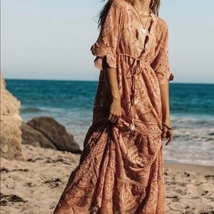 Laklook Coral Lace Cover-Up Caftan Dress NWT